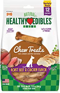 Nylabone Healthy Edibles All-Natural Long Lasting Roast Beef and Chicken Chew Treats