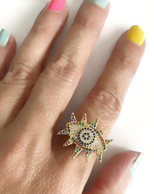 Evil Eye Ring Adjustable Micro Pave Golden Fashion Band