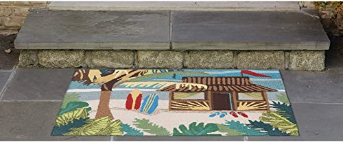 Liora Manne Frontporch Front Porch Coastal Summer Tiki Hut Multi Indoor Outdoor Rug, 2 X 3 , Blue
