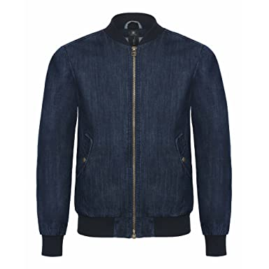 B&C Denim Mens Supremacy Denim Bomber Jacket at Amazon Men's ...