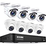 ZOSI H.265+ 1080p Home Security Camera System Indoor Outdoor, 5MP Lite CCTV DVR 8 Channel and 8 x 1080p Weatherproof Surveill
