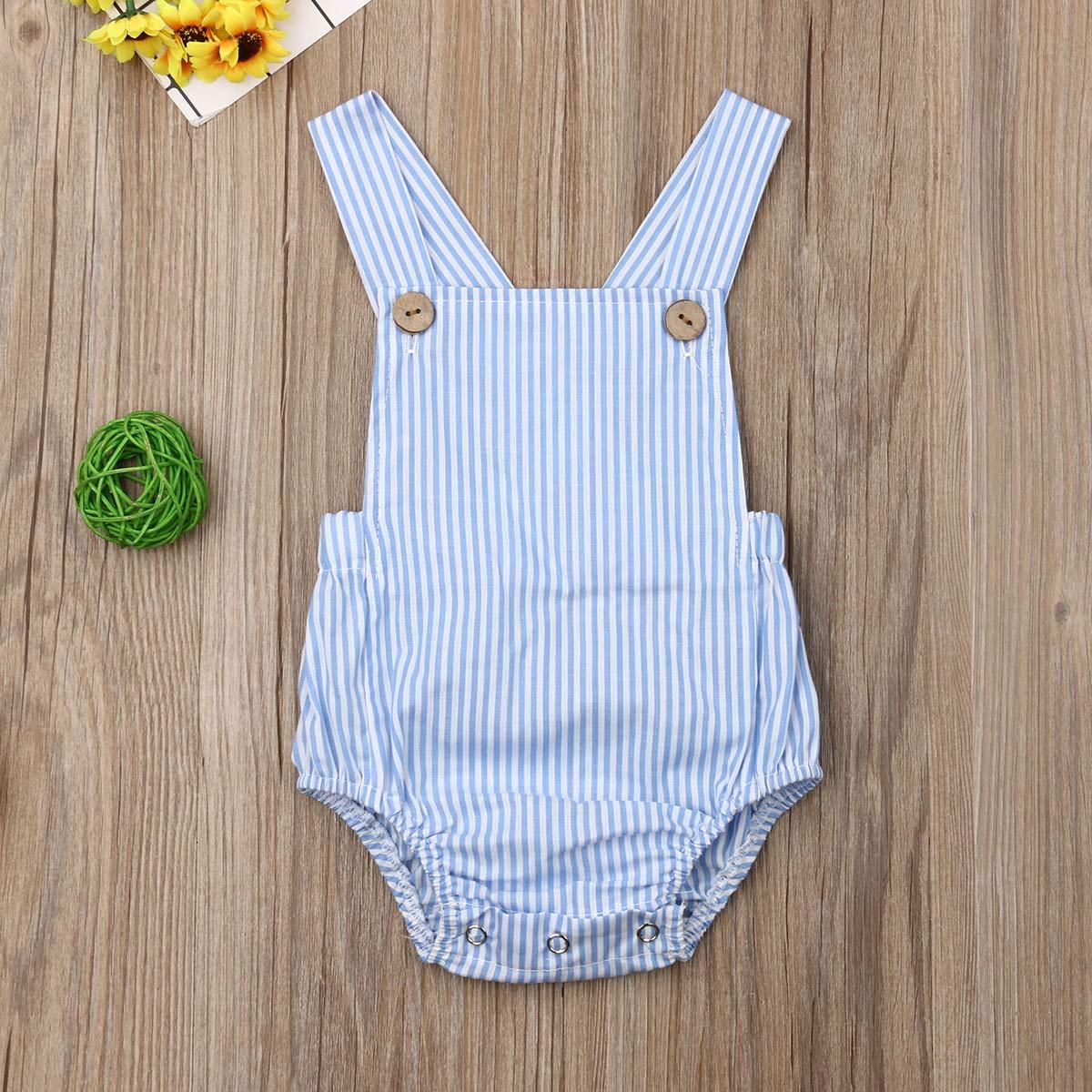 Shawnlen S/äugling Kleinkind-Baby-M/ädchen-Spielanzug-Unisex-/ärmellose Normallack-B/ügel-Spielanzug-Baumwolloutfits 0-24 Monate