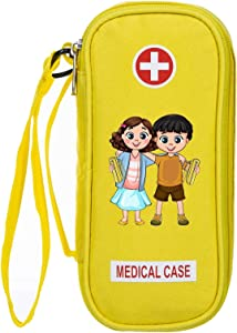 Kid's EpiPen Carrying Medical Case – Yellow Insulated Portable Bag with Zipper – For 2 EpiPen's, Auvi-Q, Asthma Inhaler, Eye Drops, Allergy Medicine