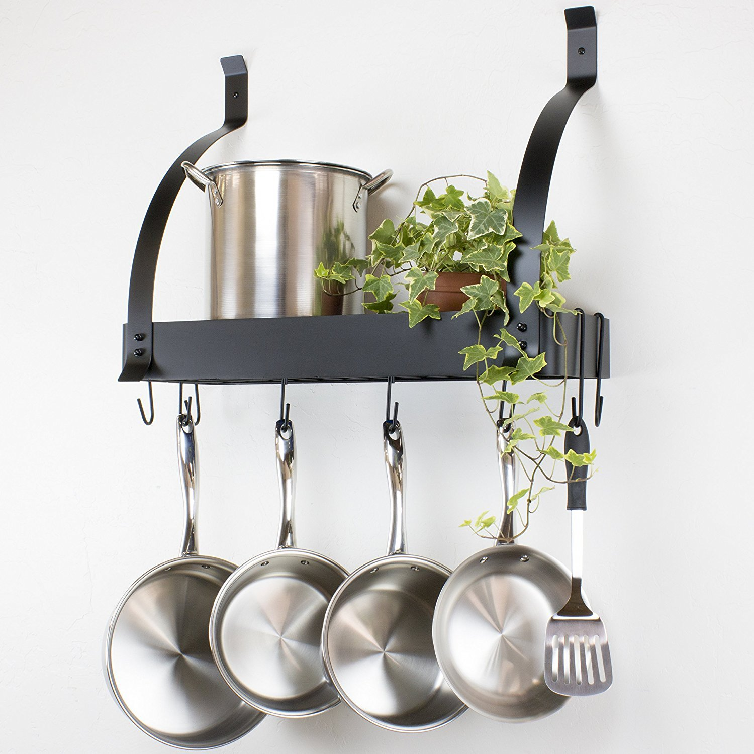 Contour Essentials Stainless Steel Wall Mounted Kitchen Pot Rack with 10 Hooks SYNCHKG114159