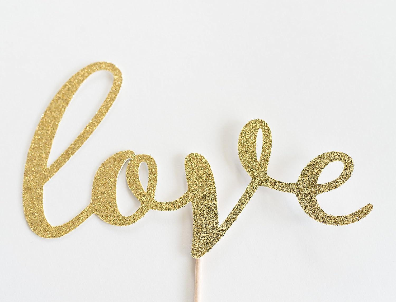 Gold Glitter 'Love Script Cake Topper, Wedding, Handwritten, Hand Writing, Engagement Party, Bridal Shower