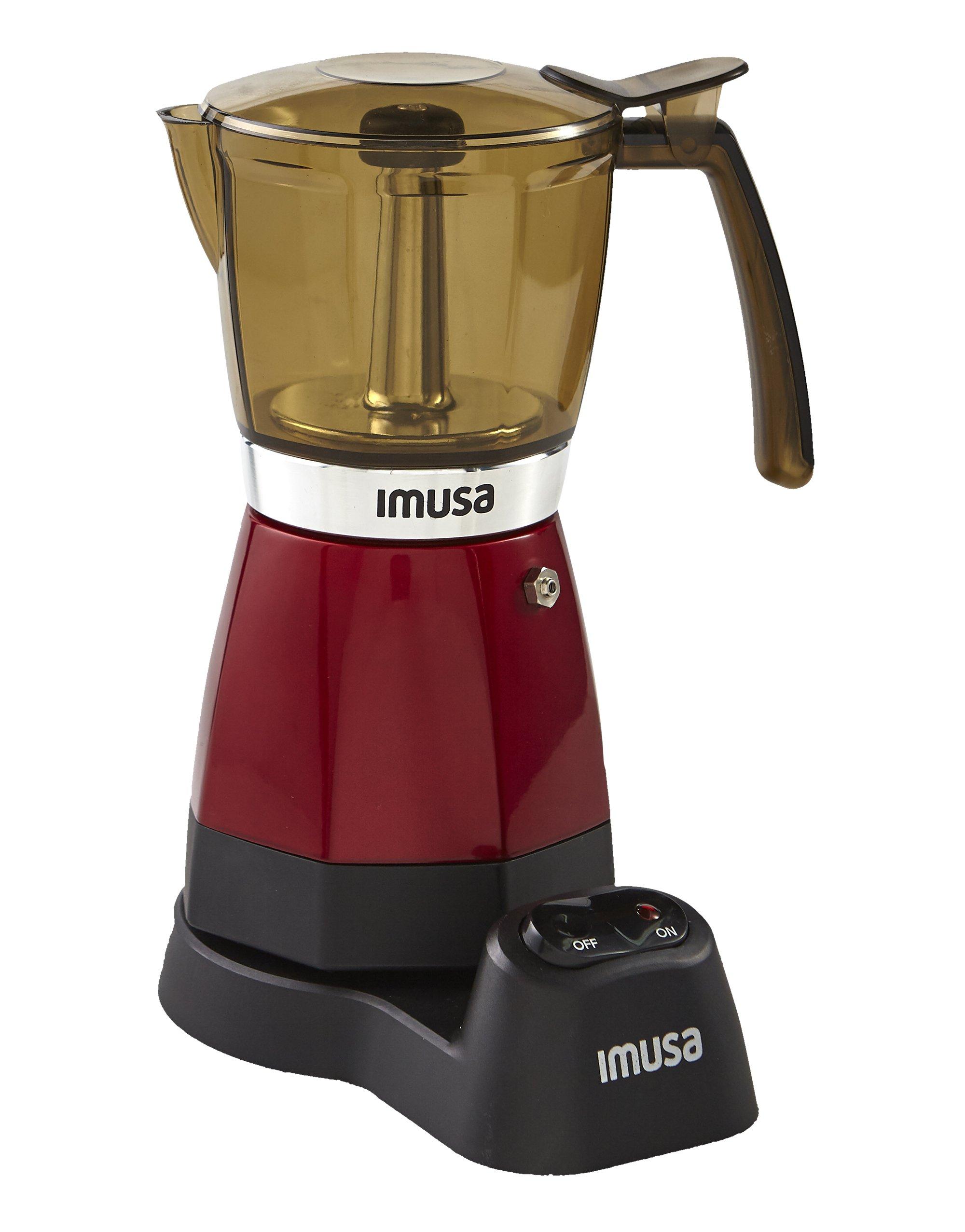 IMUSA USA B120-60008 Electric Espresso/Moka Maker, 3-6 Cups, Red by Imusa