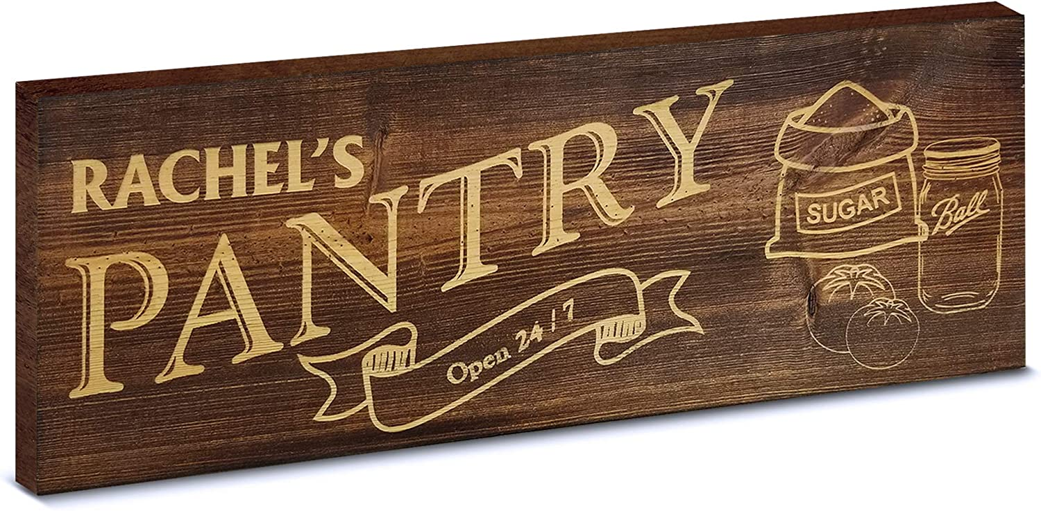 MY VINTAGE FINDS Pantry Sign Rustic Kitchen Decor Farmhouse Wall Decor (Brown Personalized)