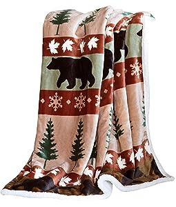 Carstens, Inc Soft Sherpa Plush Throw Blanket, Cascade Ridge