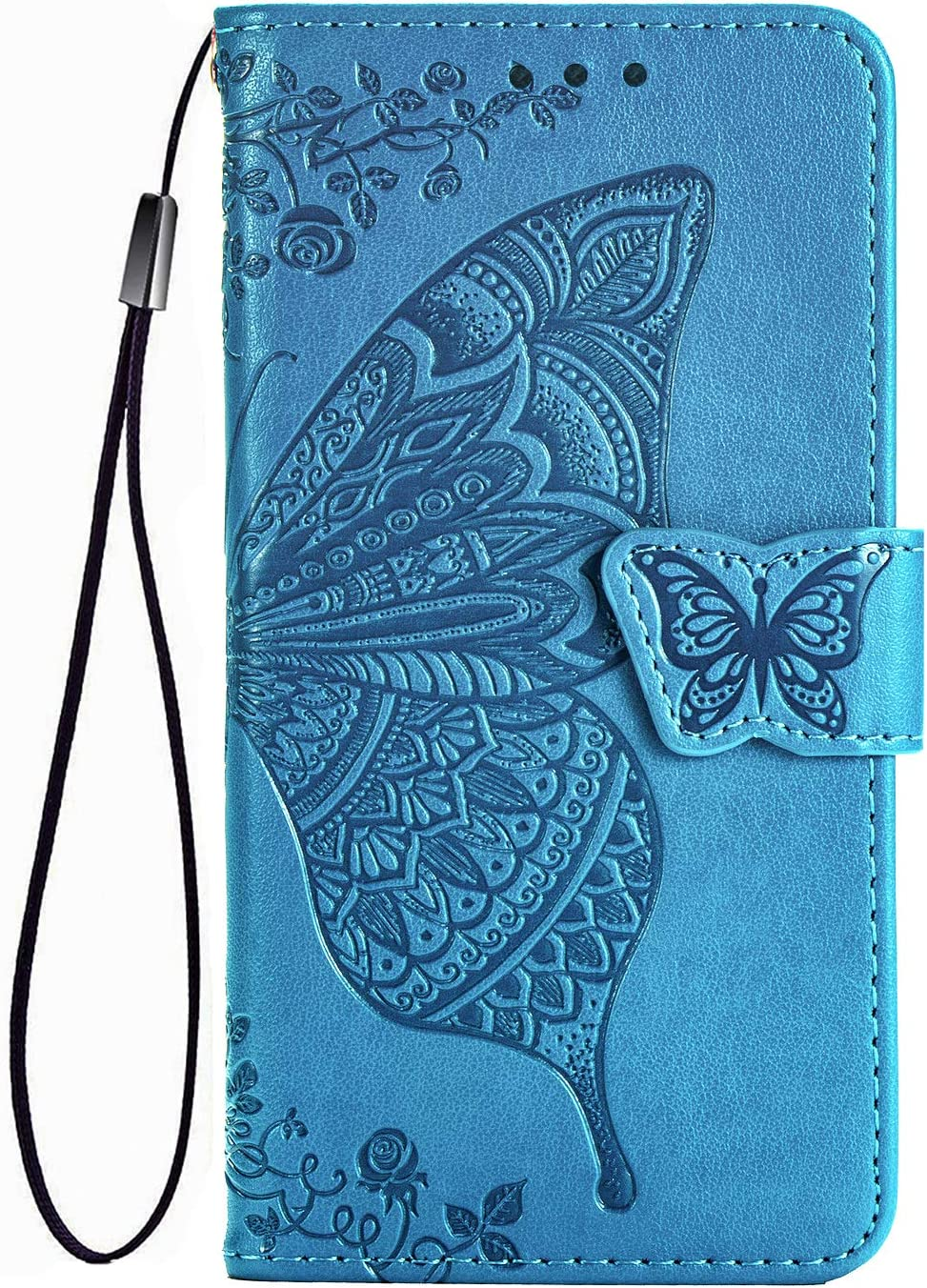 PU//TPU Flip Leather Wallet Cover Premium 3D Butterfly Phone Shell with Cash /& Card Slots Blue TANYO Case for Motorola G8 Power Lite