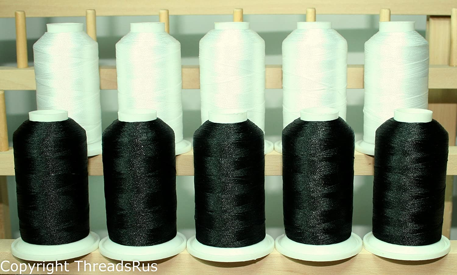 NEW 10 BLACK CONES POLYESTER MACHINE EMBROIDERY THREAD