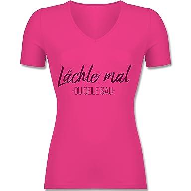Sprüche - Lächle Mal - Tailliertes T-Shirt mit V-Ausschnitt Für Frauen:  Shirtracer: Amazon.de: Bekleidung