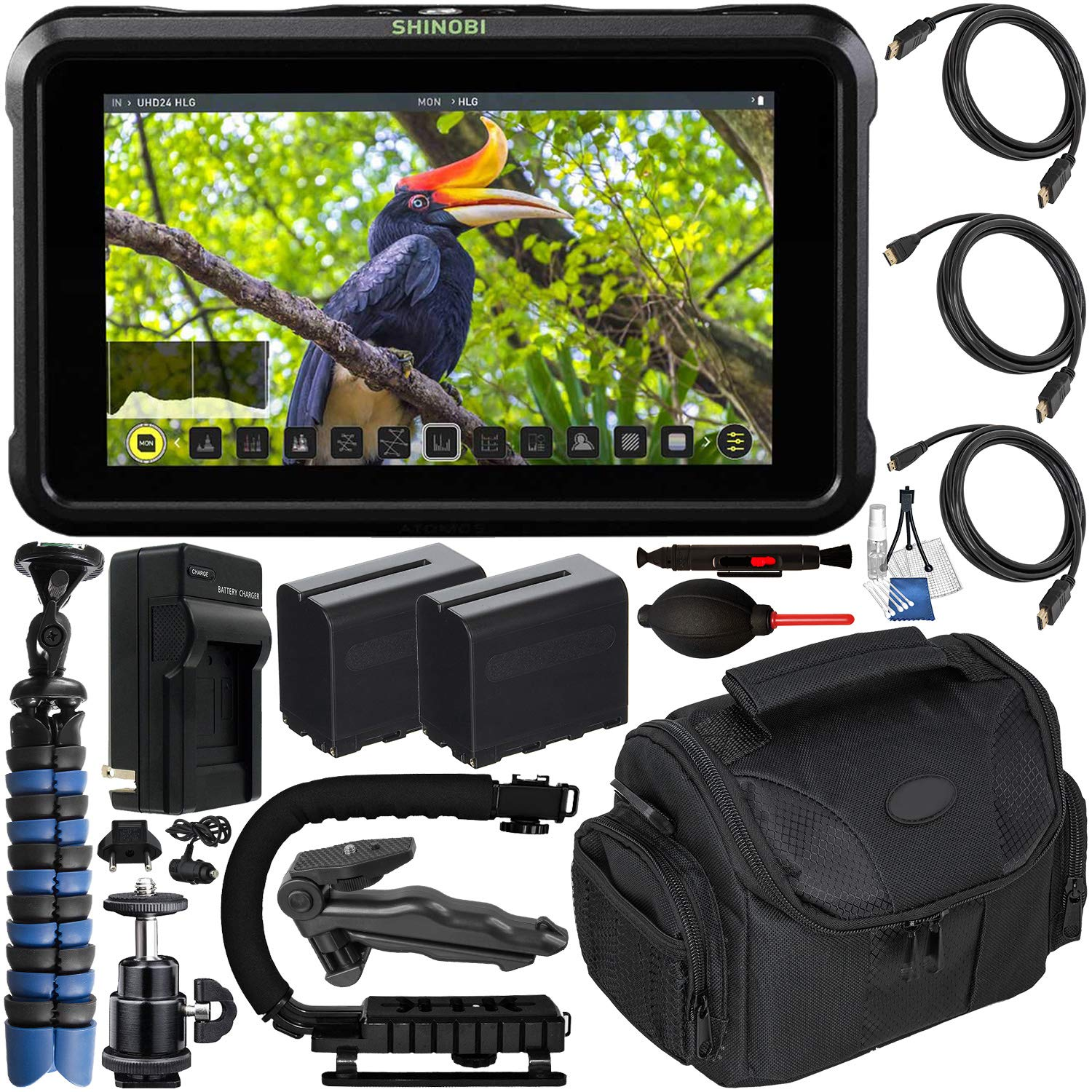 Atomos Shinobi 5.2'' 4K HDMI Monitor with Deluxe Accessory Bundle - Includes: 2X Extended Life NP-F975 Batteries with Charger, Standard, Mini & Micro HDMI Cables, Action Grip Stabilizer & Much More by Atomos