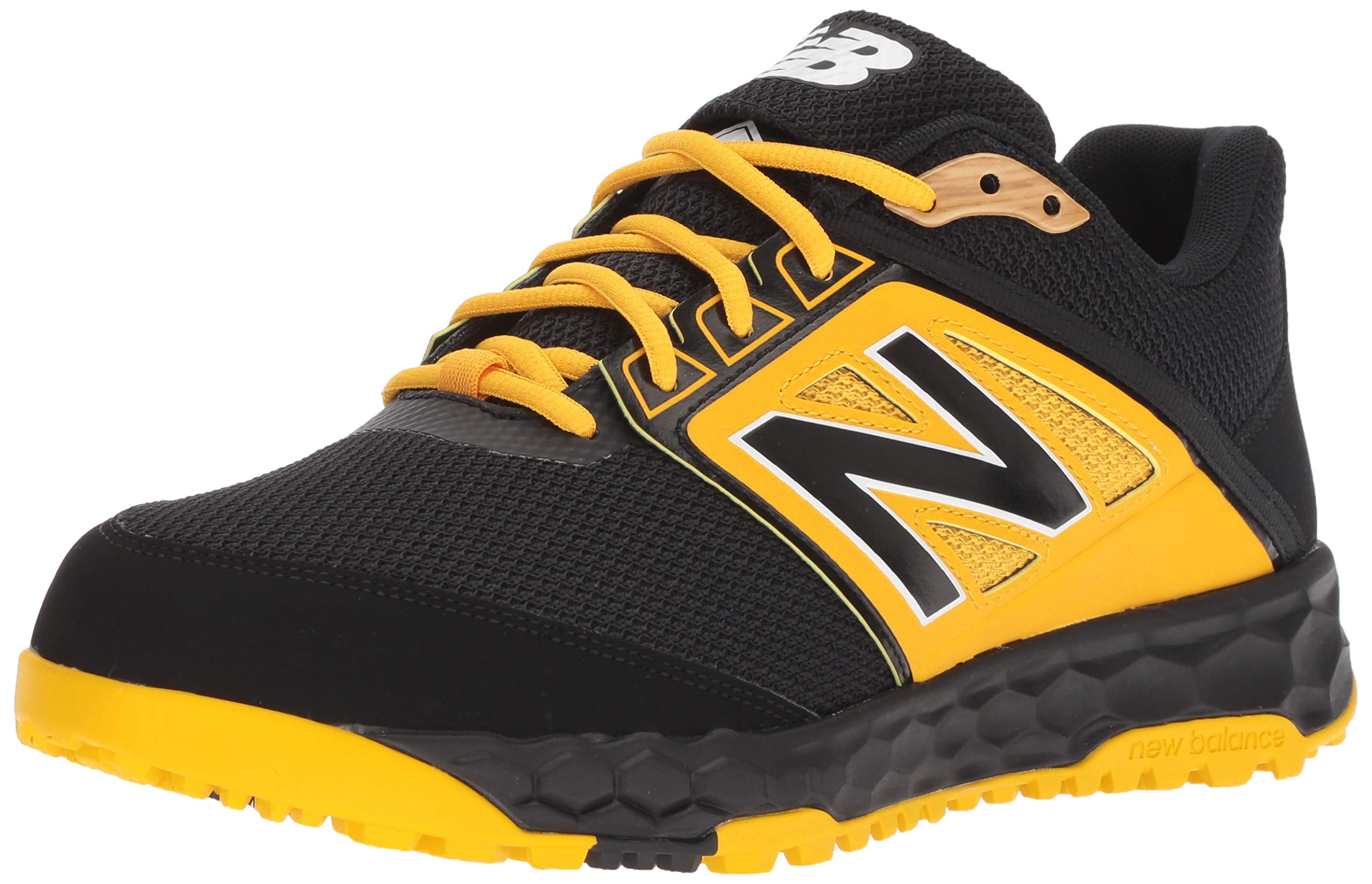 New Balance Men's 3000v4 Turf Baseball Shoe, Black/Yellow, 5 D US