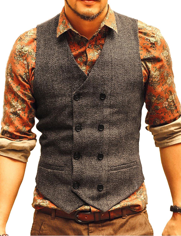 JYDress Men's Vintage Slim Fit Double Breasted Solid Suit Vest VS17122801