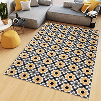 Tapiso Maya Tapis de Salon Chambre Ado Design Moderne Orange Gris Blanc  Noir Fleures Géométrique Fin 250 x 300 cm
