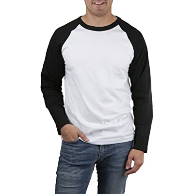 ToBeInStyle Men's Raglan L.S. Crewneck Baseball Tee - Black/White - Medium | .com