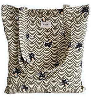 cf13c6c705eb Amazon.com: LucyGod Cute Cat Canvas Shoulder Bag Zipper Tote Casual ...