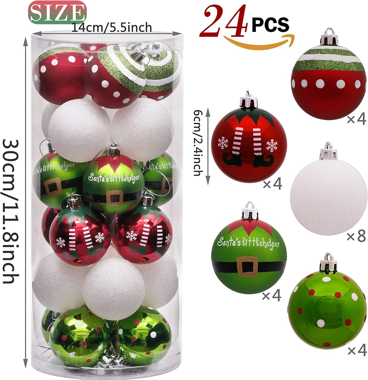 Victors Workshop 24Pcs Bolas de Navidad 6cm, Adornos de Navidad para Arbol Tema Elfo Setl, Decoración de Bolas Navideños Plástico de Rojo Blanco Verde, Regalos de Colgantes de Navidad (Deleitoso): Amazon.es: Hogar