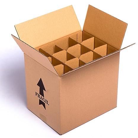 (15x) Caja para botellas de vino CON separadores de cartón rejilla | TELECAJAS (Para 12 Botellas) (PACK DE 15 UNIDADES): Amazon.es: Oficina y papelería