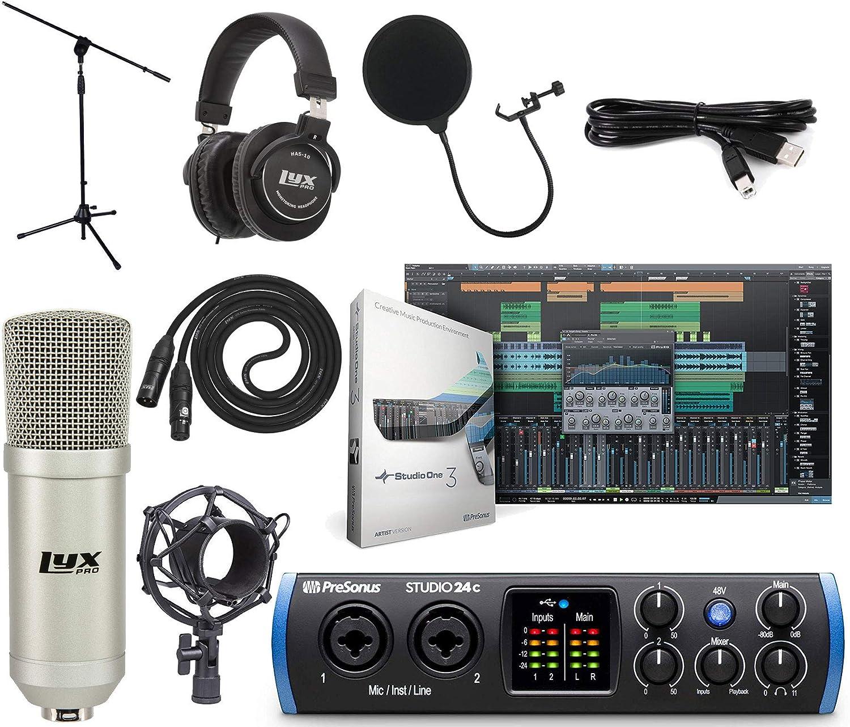 PreSonus Studio 24c 2x2 USB Type-C Audio/MIDI Interface Studio Bundle with Studio One Artist Software Pack