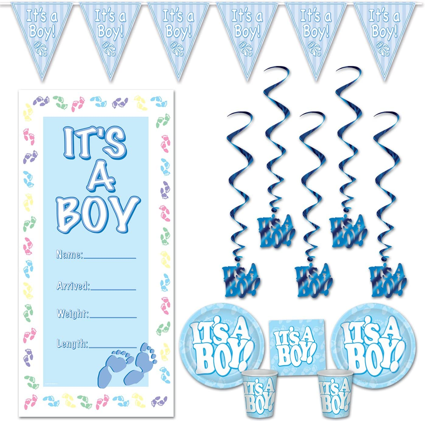 It's A Boy! Baby Shower Boy Decorations Blue Party Bundle – Includes 16 Plates, 16 Luncheon Napkins, 16 Beverage Cups, 1 Pennant Banner, 1 Door Cover and 5 Whirls