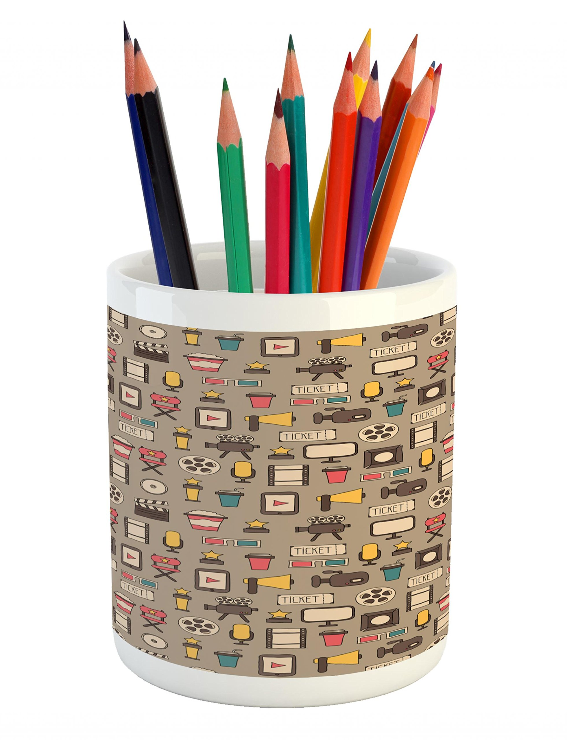 Lunarable Movie Theater Pencil Pen Holder, Retro Style Cameras Tickets Popcorn and Clapperboard Colorful Cinema Icons, Printed Ceramic Pencil Pen Holder for Desk Office Accessory, Multicolor
