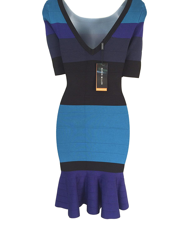 Karen Millen Striped Knitted Frill Bandage Dress Blue Multi (Size 10 ...