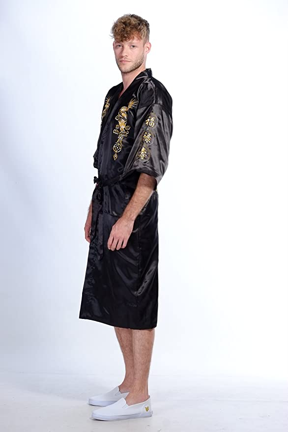 Bata de baño de Yukata Hakma, Secret Collection, estilo Kimono con dragón bordado, vintage Negro negro X-Large: Amazon.es: Ropa y accesorios