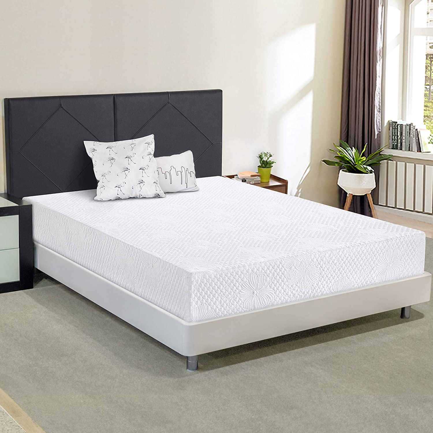 Ecos Living 6 Inch Multi-Layer Memory Foam Mattress,White Queen