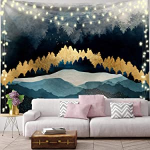 Moon Tapestry Wall Hangings Mountain Tapestry Forest Tree Tapestry Nature Landscape Tapestry for Bedroom Living Room Wall Decor(51.2 x 59.1 inches)