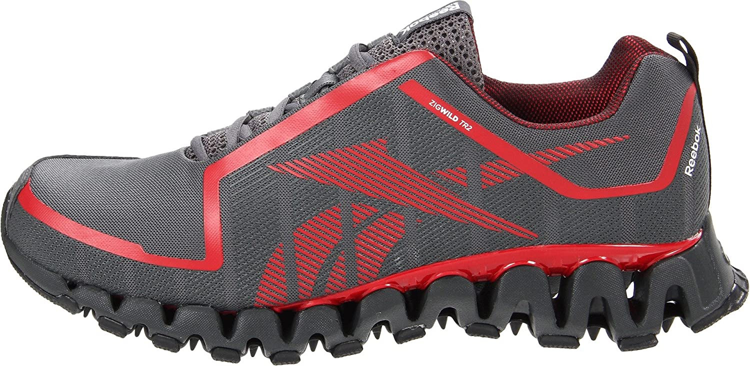 competitive price 65998 57d4a ... sweden reebok mens zigwild tr 2 m running shoes grey red gravel white  black 13 dm
