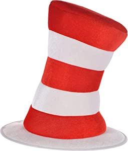 """Costumes USA Dr. Seuss Cat in the Hat Top Hat for Adults, Halloween Costume Accessories, 12 1/2"""" dia. x 10"""" H, One Size"""