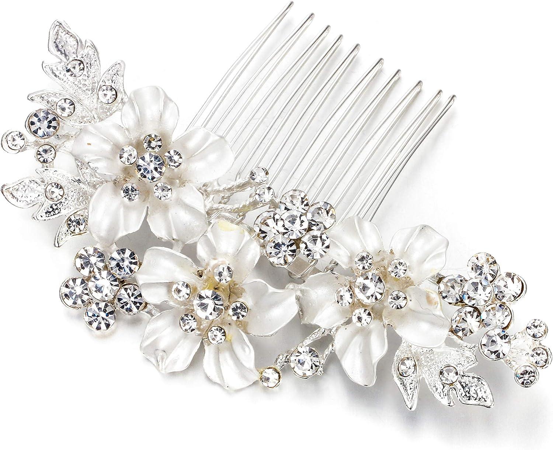 hair comb flowers vintage headdress bride wedding Hair comb sterling silver floral pattern hair accessory flower hair ornament wedding