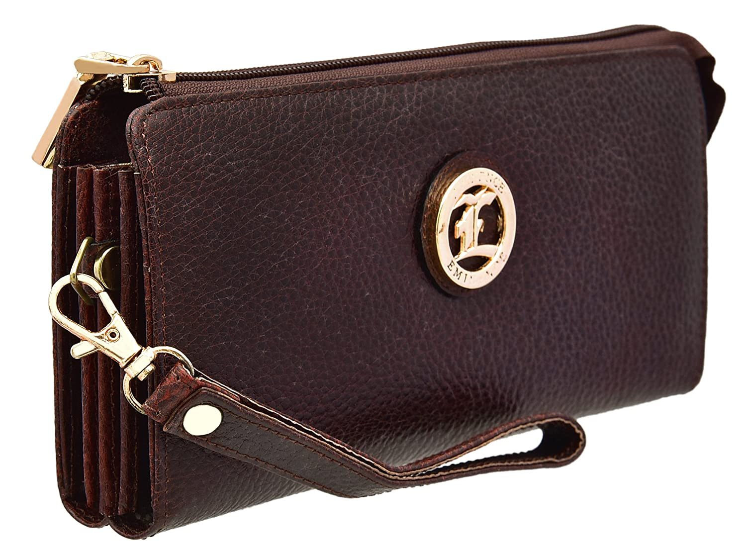 JFL - 100% Pure Genuine Real Vintage Leather Handmade Dark Brown wallet/ Clutch for Women and Girls