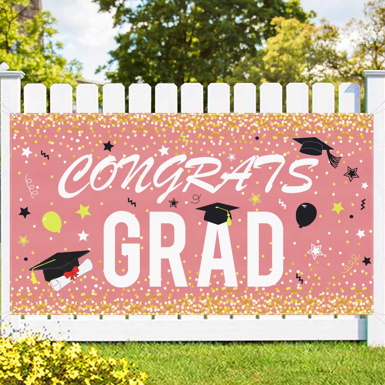 """Graduation Banner - Rose Gold Congrats Grad Banner- Extra Large 70"""" X 40"""" Graduation Backdrop - Graduation Party Supplies 2021 - Graduation Decorations - 2021 Grad Party Outdoor Indoor Hanging Decor"""