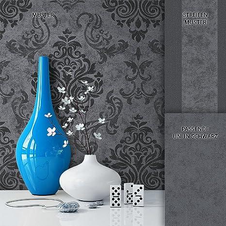 NEWROOM Barocktapete Tapete Schwarz Grau Ornament Barock Modern Vliestapete  Vlies moderne Design Optik Barocktapete Wohnzimmer Glamour inkl. Tapezier  ...