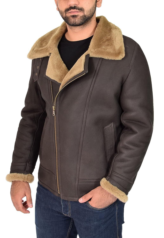 Mens Real Sheepskin Leather Jacket GINGER Shearling B3 BOMBER Pilot Coat - Danny at Amazon Mens Clothing store: