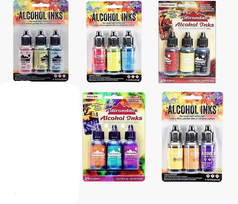 Ranger Tim Holtz Adirondack Alcohol Inks Bundle - Favorite Set Collection - 15 Colors by Ranger Adirondack