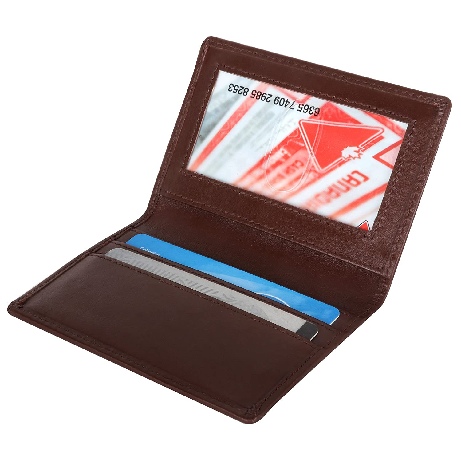 Men's Slim Leather RFID Card Wallet, Thin Minimalist Front Pocket Wallet SD 026 (Brown)