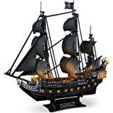 CubicFun 3D Puzzle for Adults LED Pirate Ship Puzzles Sailboat Vessel Model Kits, Large Black Queen Anne's Revenge Difficult
