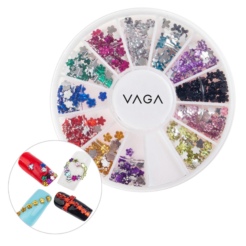 12 Colours Wheel Flowers Crystals Rhinestones Jewels Nail Art Gems By VAGA®