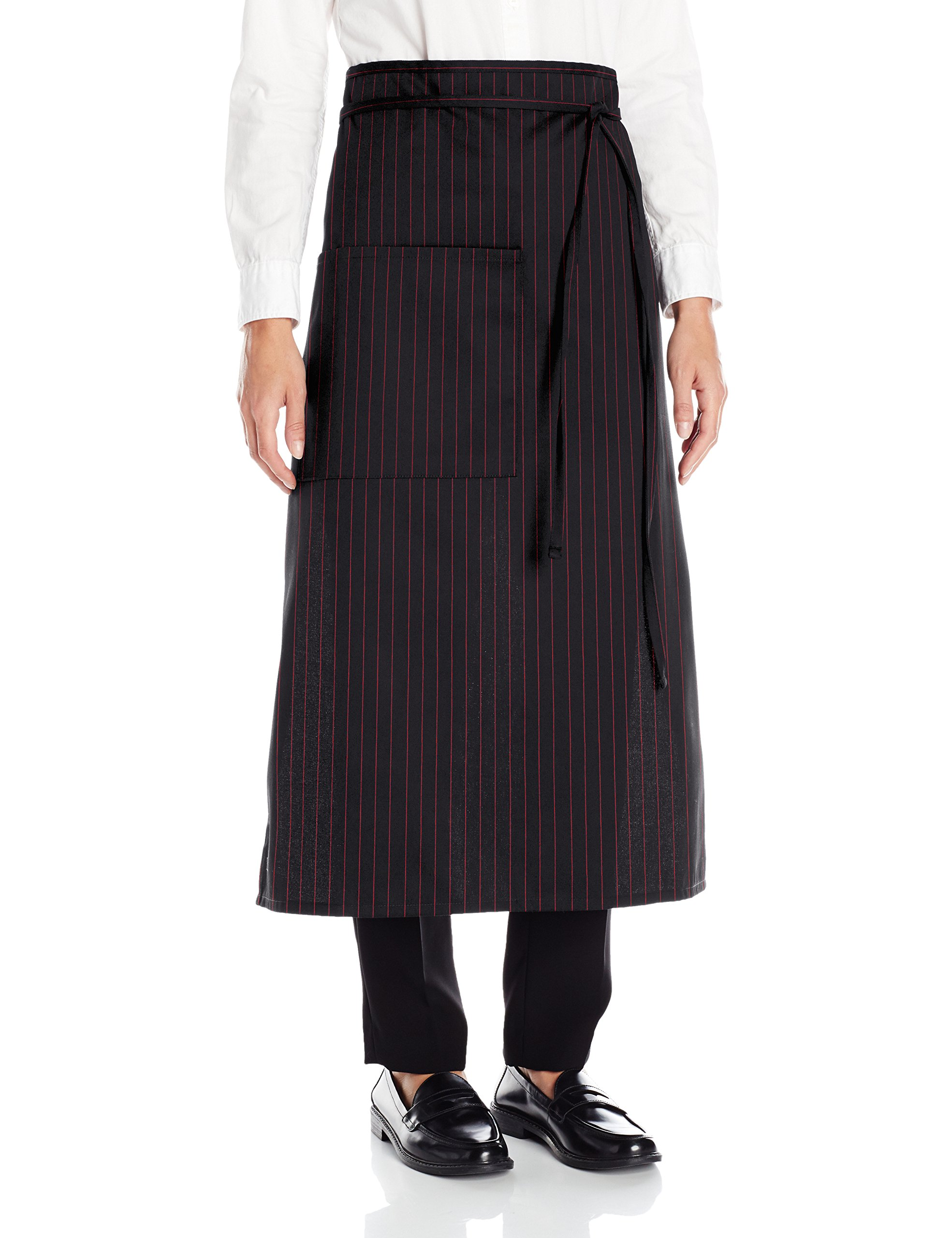 Uncommon Threads Unisex Bistro Apron One Pocket, Black/Red Pin Stripe, One Size