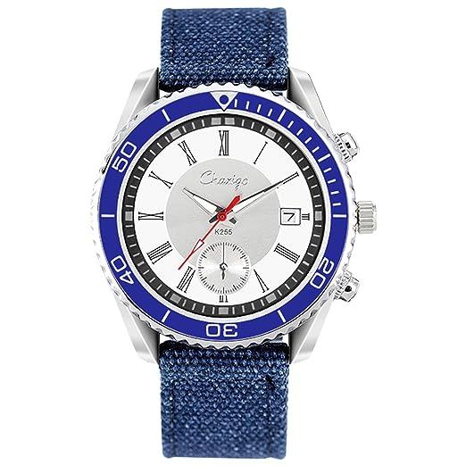 Chaxigo Sports correa de tela militar de cuarzo reloj de pulsera en línea compra venta Nueva K255, color blanco y azul: Chaxigo: Amazon.es: Relojes