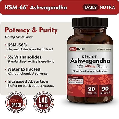Amazon Com Ksm 66 Ashwagandha 600mg Organic Root Extract High