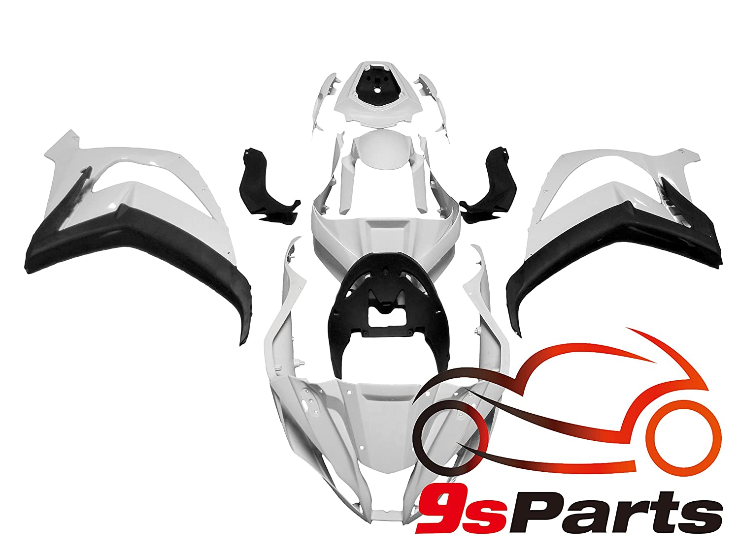 9sparts Unpainted ABS Plastic Injection Pre-Drilled Hole Cowl Fairings Bodywork Kit Complete Set For 2011 2012 2013 2014 2015 2016 Kawasaki Ninja ZX10R