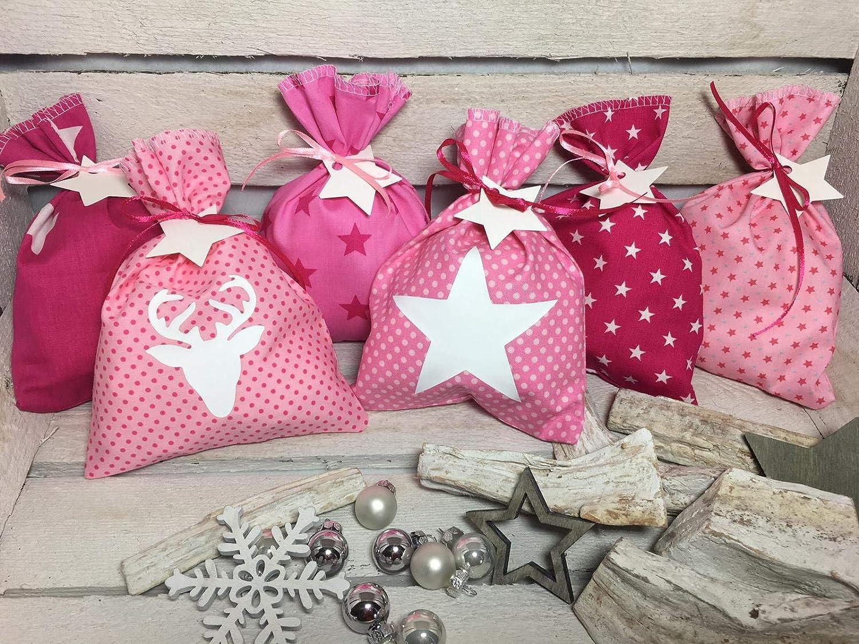Adventskalender Sä ckchen 24 Stoffsä ckchen Beutel zum befü llen rosa pink Handmade by Sinchns Bastelzauber
