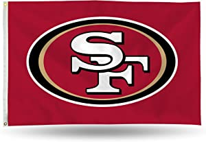 NFL Rico Industries 3-Foot by 5-Foot Single Sided Banner Flag with Grommets, San Francisco 49ers