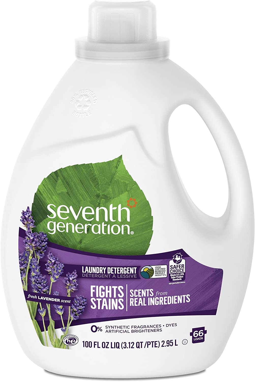 Seventh Generation Liquid Laundry Detergent, Fresh Lavender scent, 100 oz, 66 Loads (Packaging May Vary)
