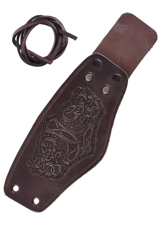 Bracciale Armstulpe vichingo LARP medioevale corta Armguards in pelle con martello di Thor