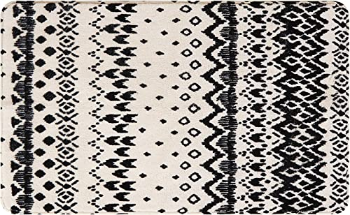 Ailsan Black and White Tribal Rectangle Faux Wool Area Rug Gorgeous Ikat Pattern Throw Runner Rug 3 x 5 Non-Slip Backing Soft Floor Carpet for Sofa Living Room Bedroom Modern Accent Home Decor